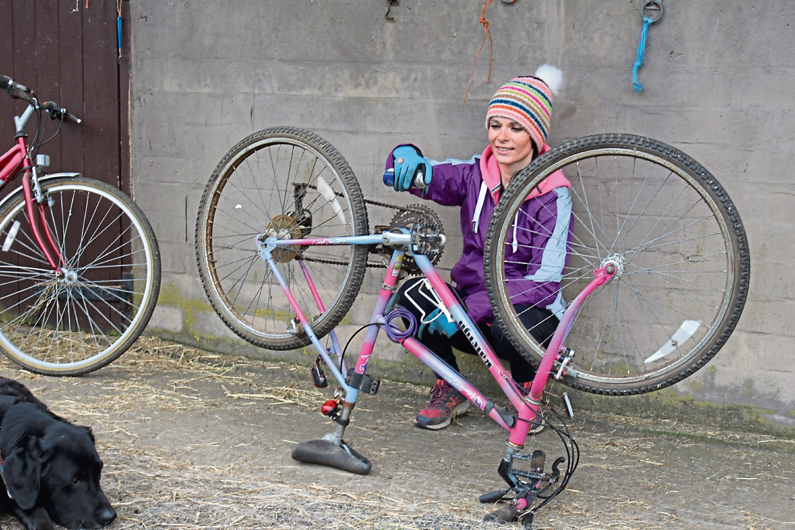 Gayle sprays some WD40 onto her very old bike.