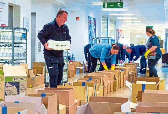 Emergency food parcels being prepared for vulnerable families in Edinburgh.