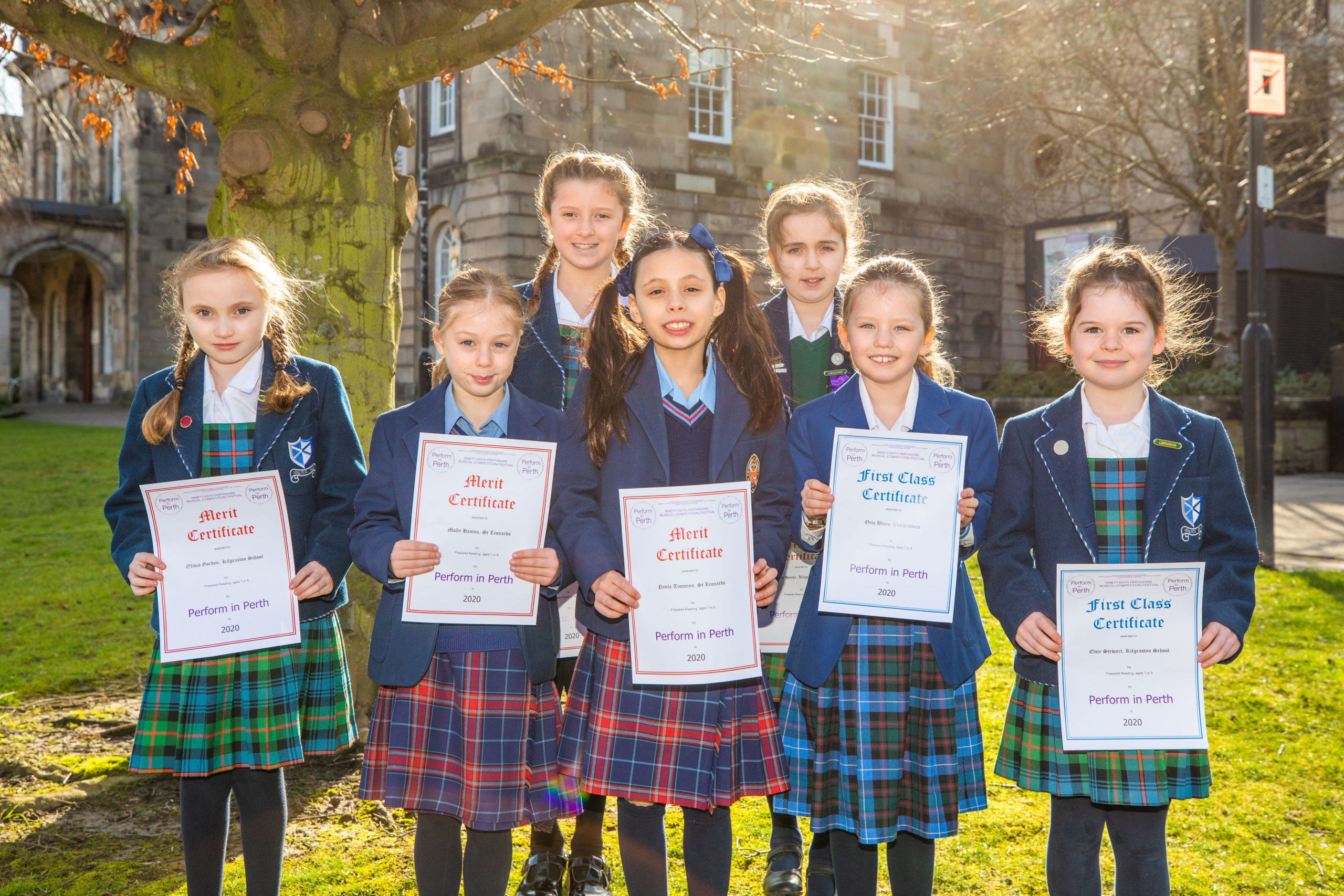 Class 422 competitors - prepared reading aged 7 or 8 - - front row, left to right, Olivia Gordon (Kilgraston School), Molly Hanton (St Leonards School, St Andrews), Paula Timmins (joint 3rd place, St Leonards School, St Andrews), Orla Blues (1st place, Craigclowan School), Elsie Stewart (2nd place, Kilgraston School). Back row, left is Alice Hutcheson (Kilgraston School) and right is Emma Horne (3rd place, Kilgraston School).