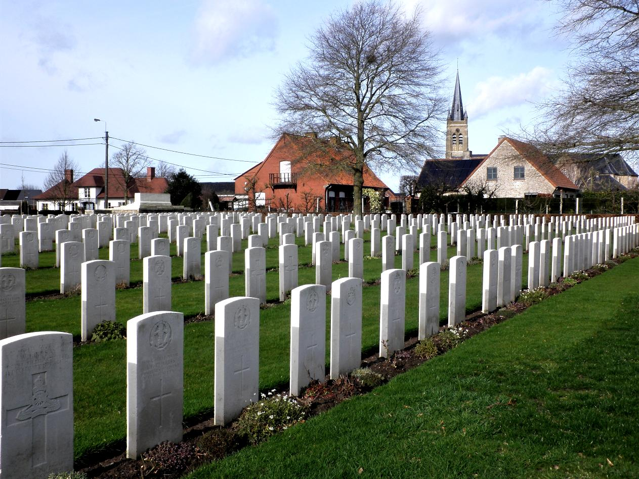 The graveyard in Belgium where Pte Scotland was laid to rest.