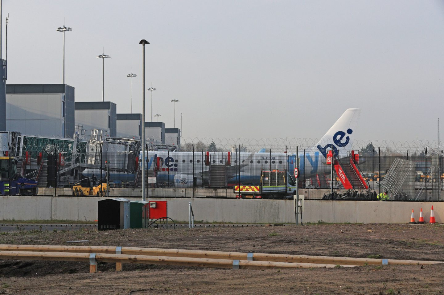 A Flybe plane parked up at Manchester Airport, as Flybe, Europe's biggest regional airline, has collapsed into administration. PA Photo. Picture date: Thursday March 5, 2020. See PA story AIR FlyBe. Photo credit should read: Peter Byrne/PA Wire