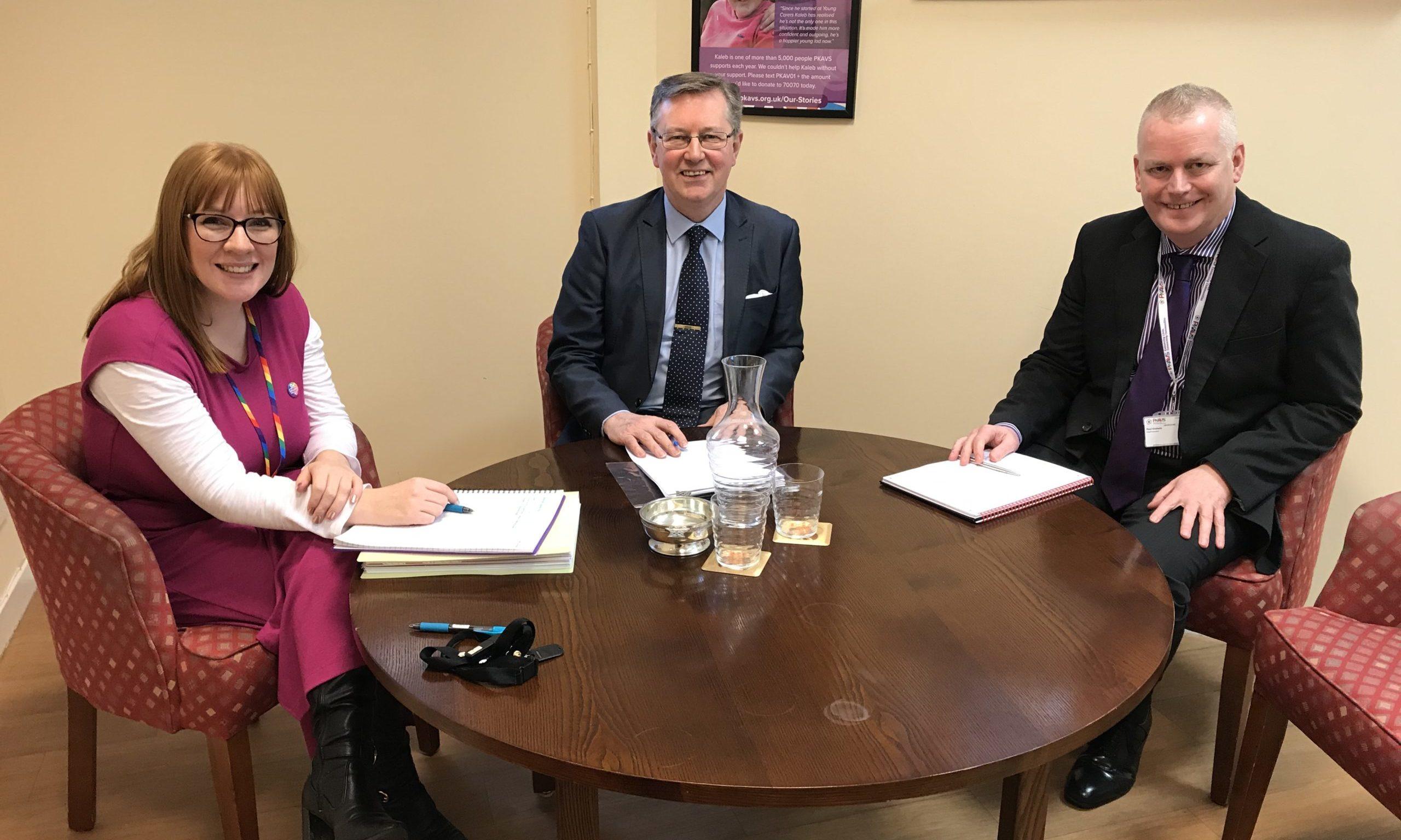 Lori Hughes of PKAVS, Alexander Stewart MSP and Paul Graham
