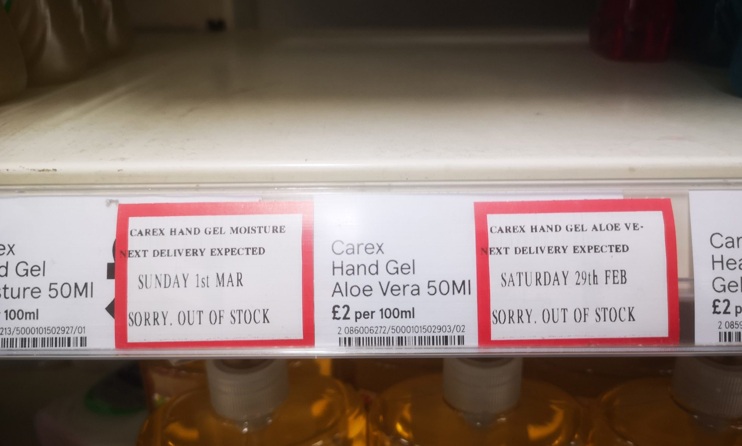 Hand gel was sold out at the Asda Dundee West superstore at the weekend.