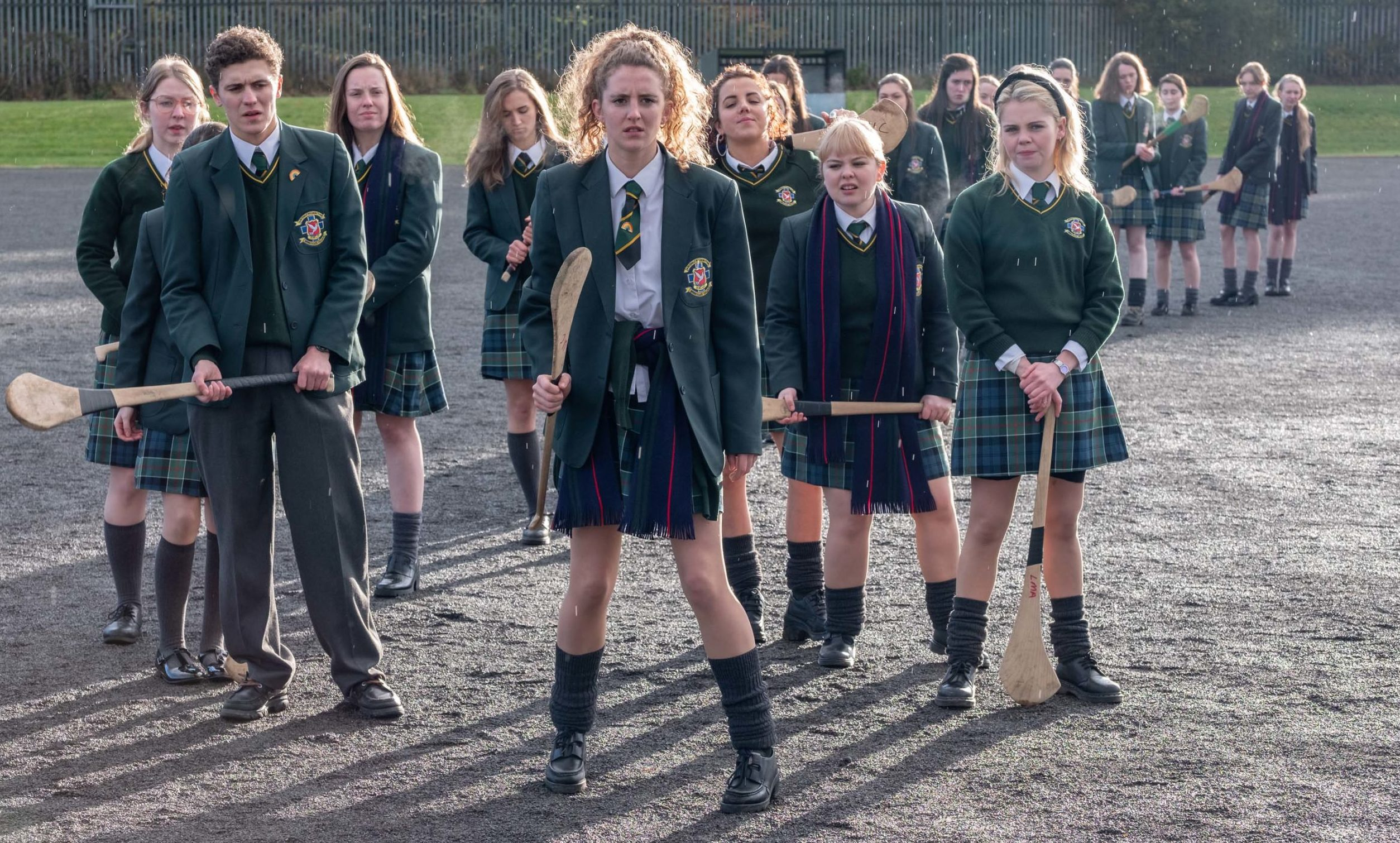 The Derry Girls.  James (Dylan Llewellyn), Erin (Saoirse Monica-Jackson), Michelle (Jamie-Lee O'Donnell), Clare (Nicola Coughlan) and Orla (Louisa Clare Harland)