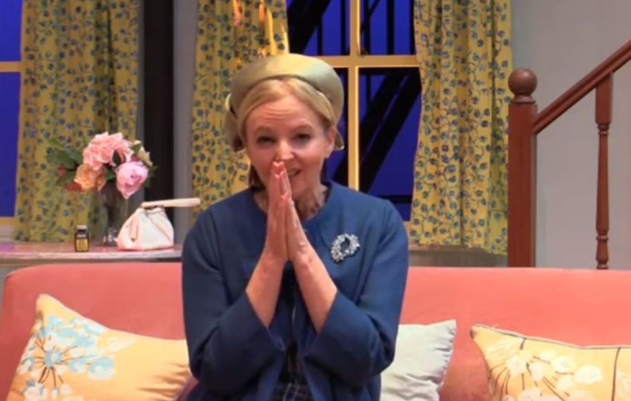 Claire Grogan on set at Pitlochry Festival Theatre