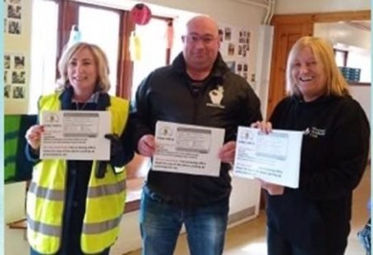 Paddy Aylward with Alison O'Brien, and Rose Duncan from Collydean Community Centre in Glenrothes  which plays host to the new Women's Wellbeing Club.