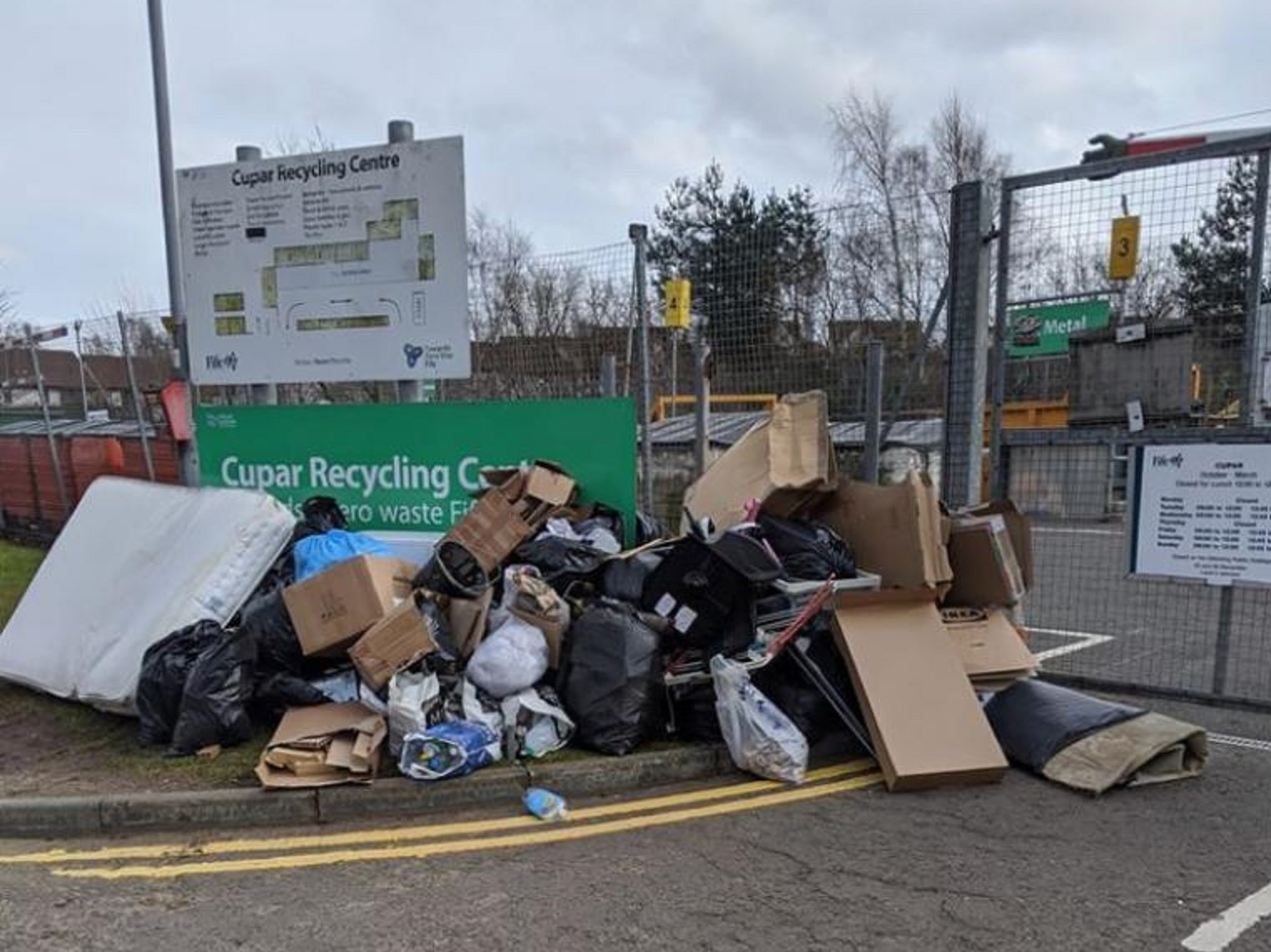 Rubbish piled at the entrance to Cupar recycling centre.