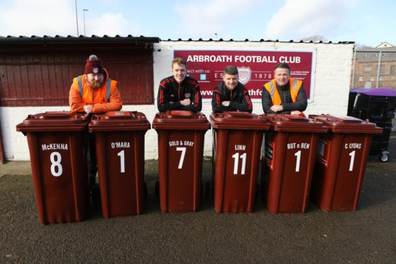 From left, Scott Cunningham - Litter Champion, Arbroath FC players David Gold, Bobby Linn, and Ralph Coutts.