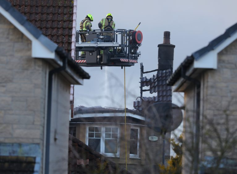 The scene of the fire in Dobson Drive, Carnoustie.