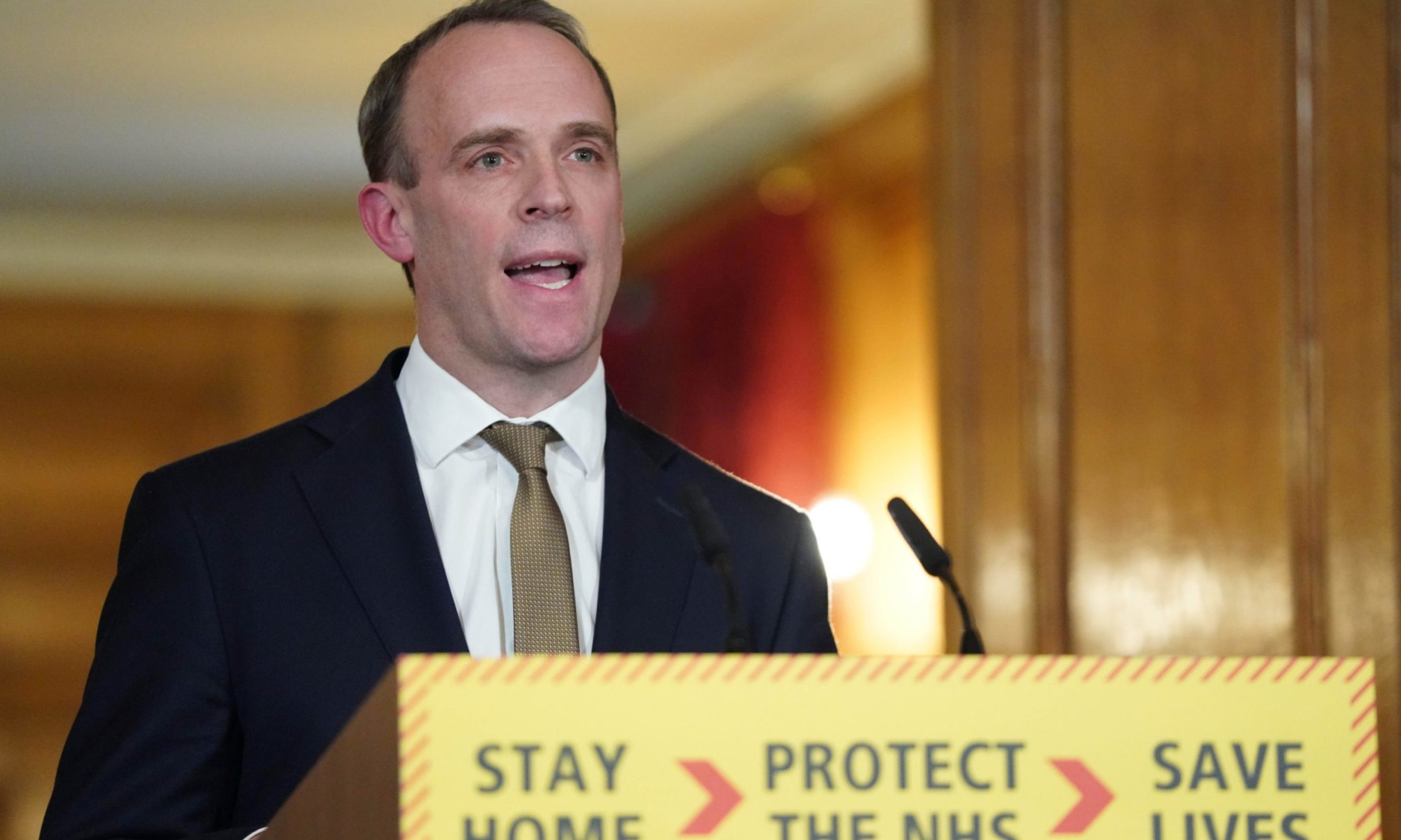 Foreign Secretary Dominic Raab holds a digital Covid-19 press conference.