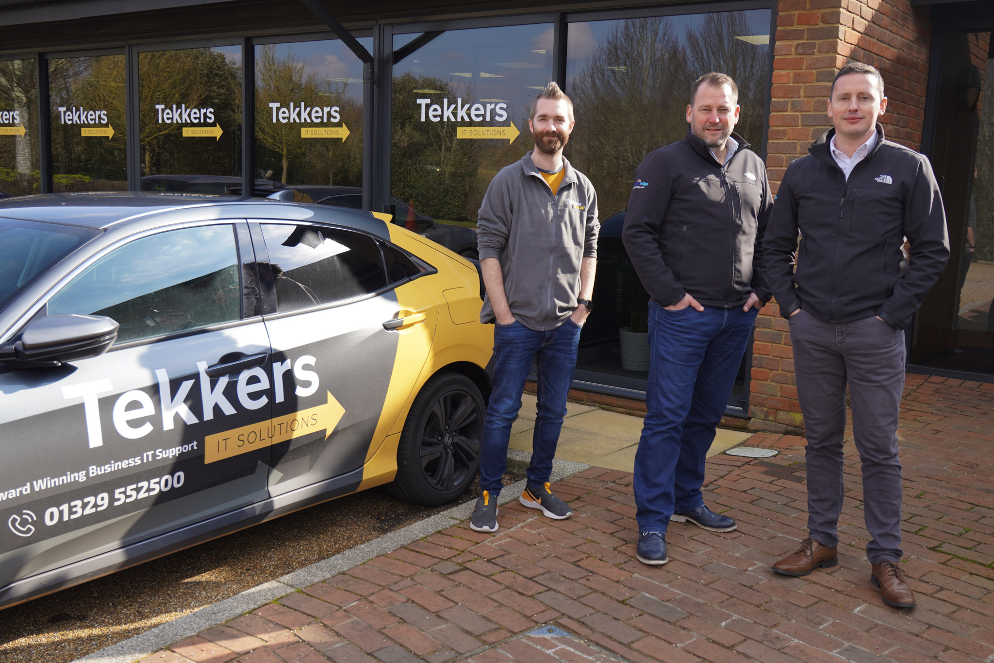 Tekkers IT Solutions founder Pete Matheson, Dynamic Edge CEO Rob Hamilton, and Stuart Winterburn, the Aberdeen-based managing director of Dynamic Edge.