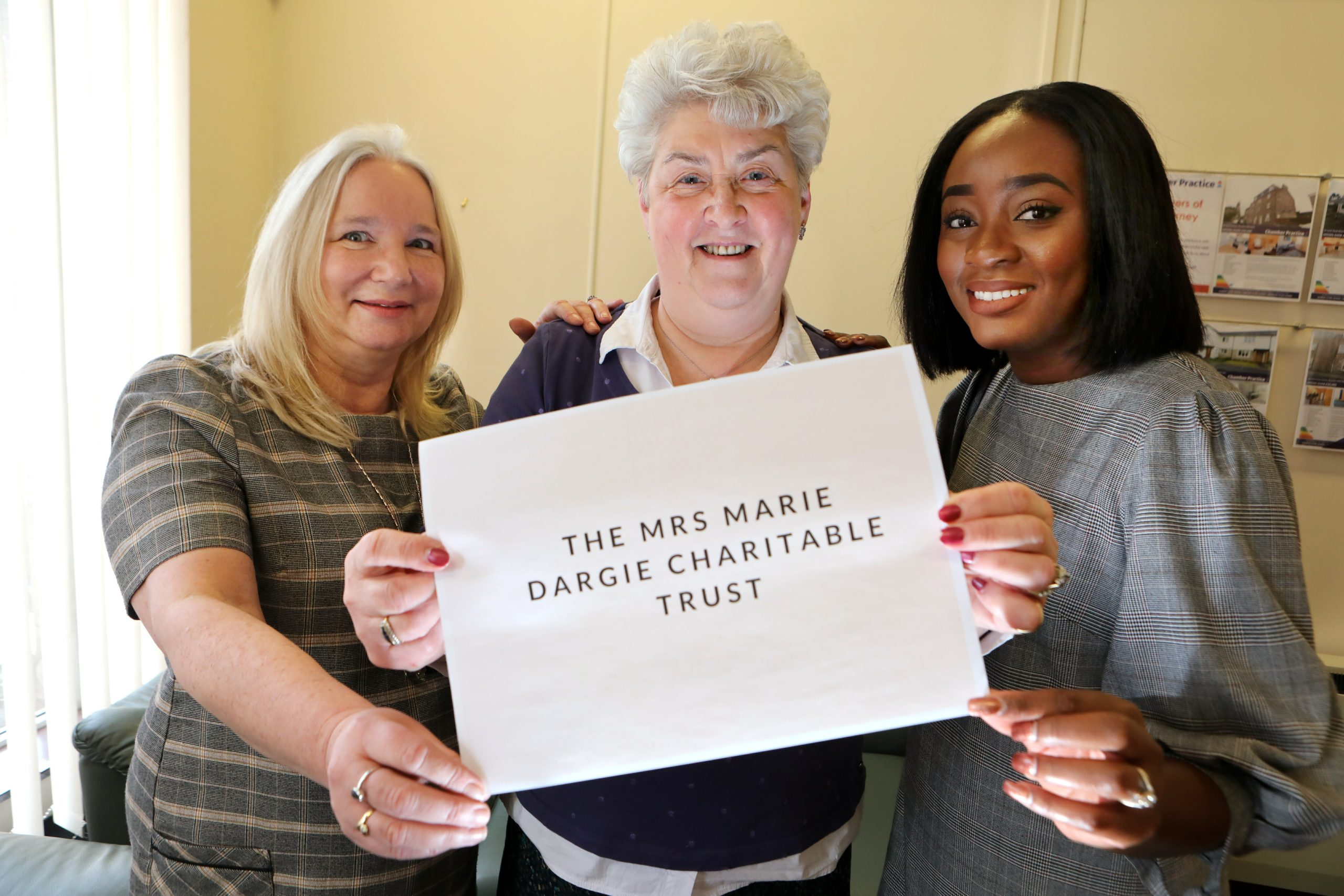 Sandra Teal, Liz Murray and Kudzi Campbell, all from the Chamber Practice, at the launch the Marie Dargie Trust.