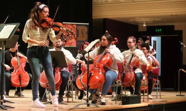 """G Jennings pics, Nicola Benedetti playing with her ambassadors at the """" Benedetti Foundation"""" sessions at the Caird Hall Dundee with children from all over scotland, saturday 7th march."""