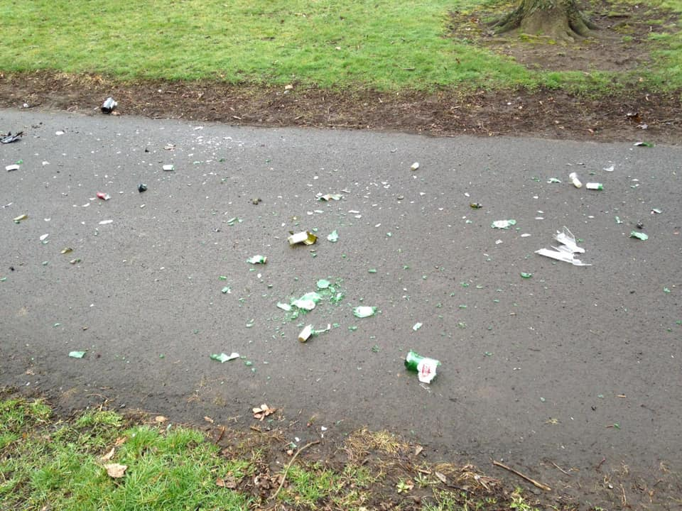Some of the glass strewn across a path in Victoria Park.
