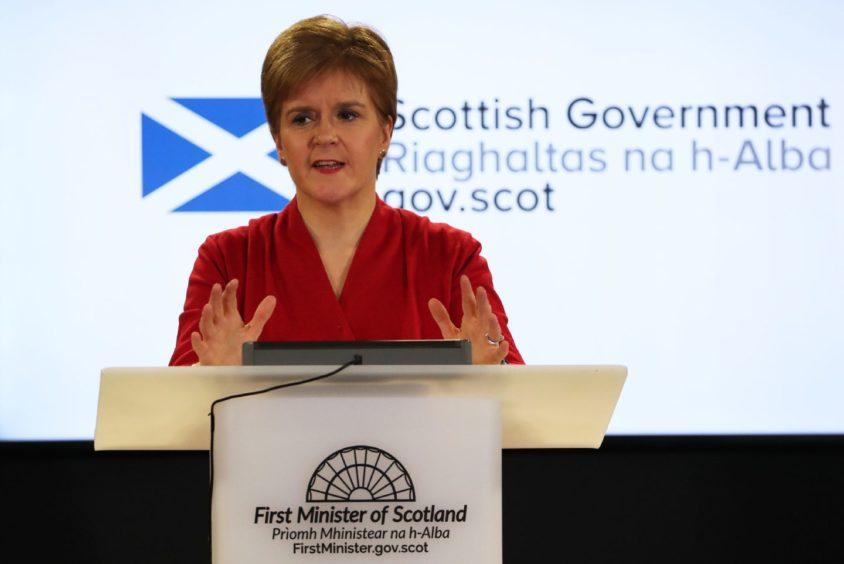 Scotland's First Minister Nicola Sturgeon speaking during a briefing on coronavirus in Edinburgh