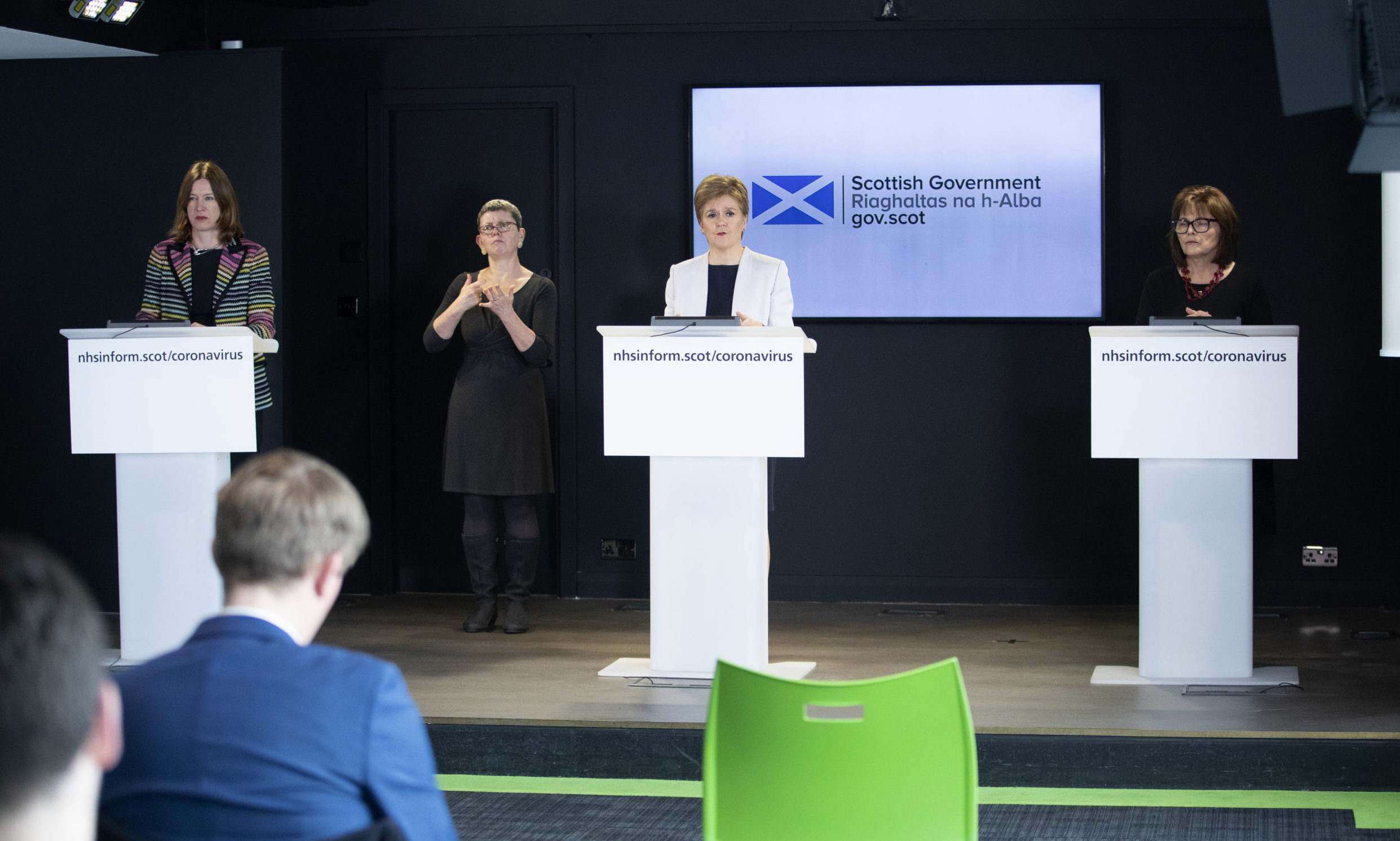 Dr Catherine Calderwood, Nicola Sturgeon and Jeane Freeman during the briefing on Thursday.