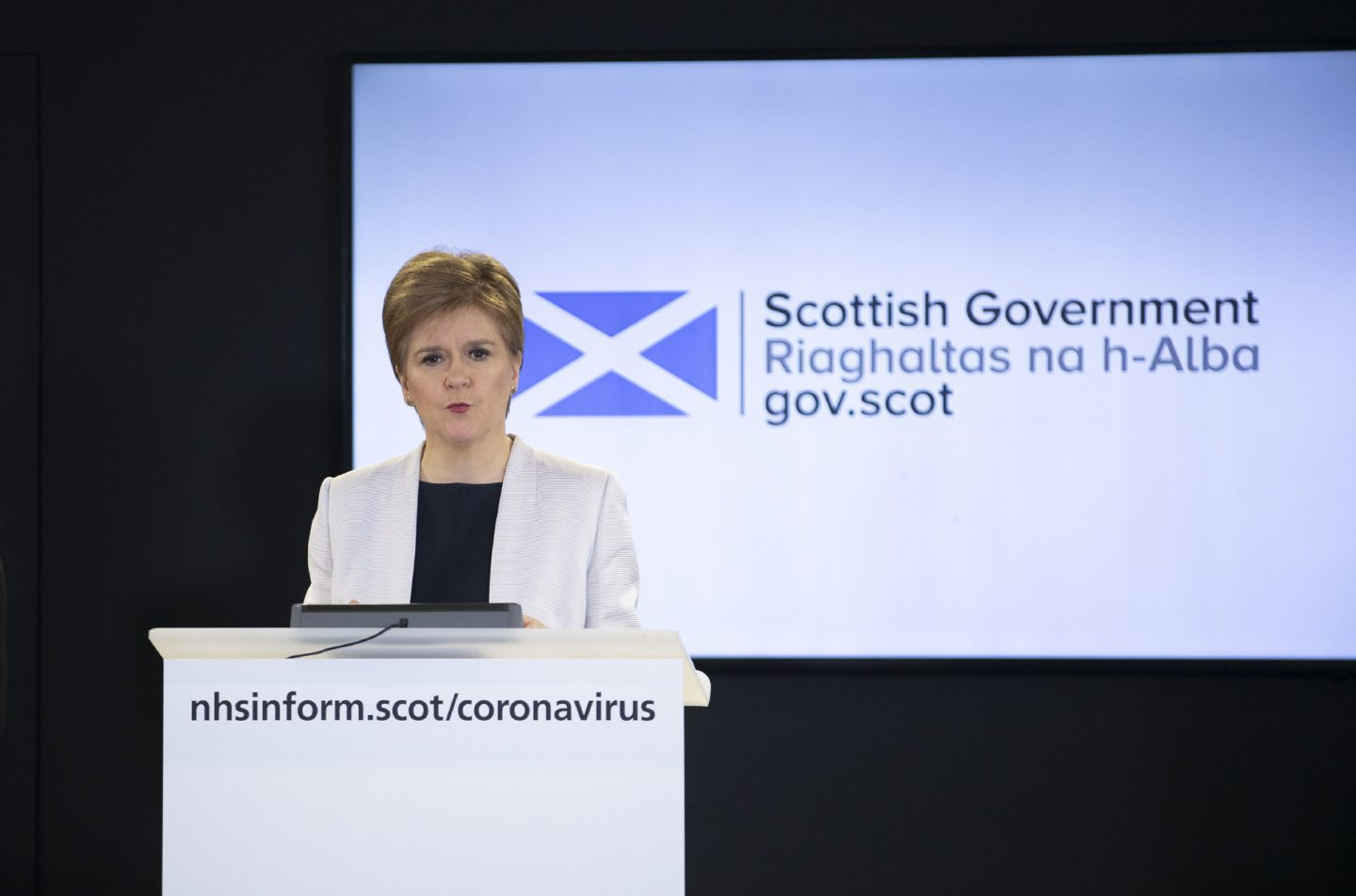 Scotland's First Minister Nicola Sturgeon holds a briefing on the coronavirus (COVID-19) outbreak.