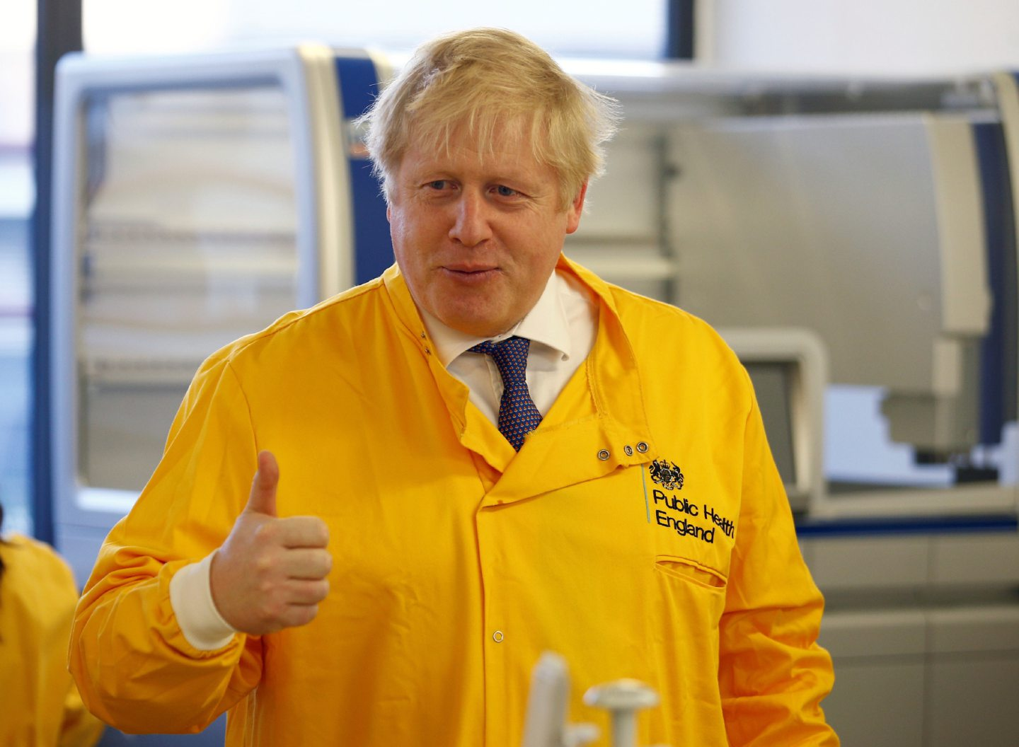 Prime Minister Boris Johnson visits a laboratory at the Public Health England National Infection Service in Colindale, north London.