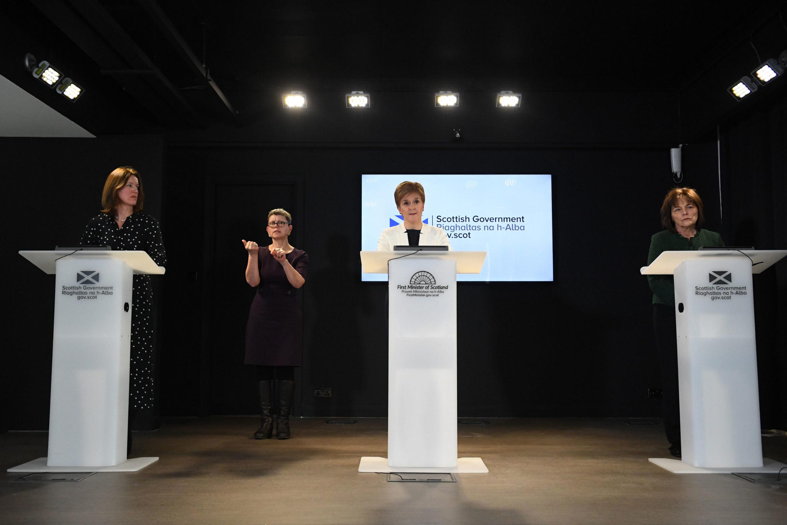 Chief Medical Officer Dr Catherine Calderwood, Scotland's First Minister Nicola Sturgeon and Scotland's Health Secretary Jeane Freeman.