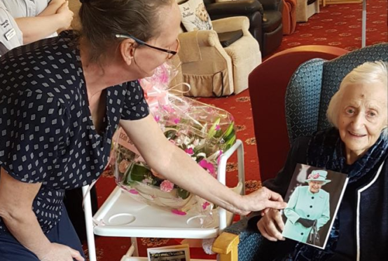 Helen Lennox on her 100th birthday at Moncrieffe Care Home, Bridge of Earn