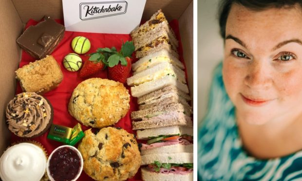 Mary-Jane Duncan, owner of KitscnBake. and an afternoon 'tea in a box' for Mother's Day.