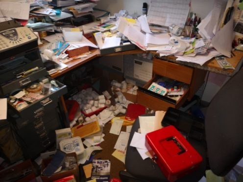 How thieves left an office in the shop.