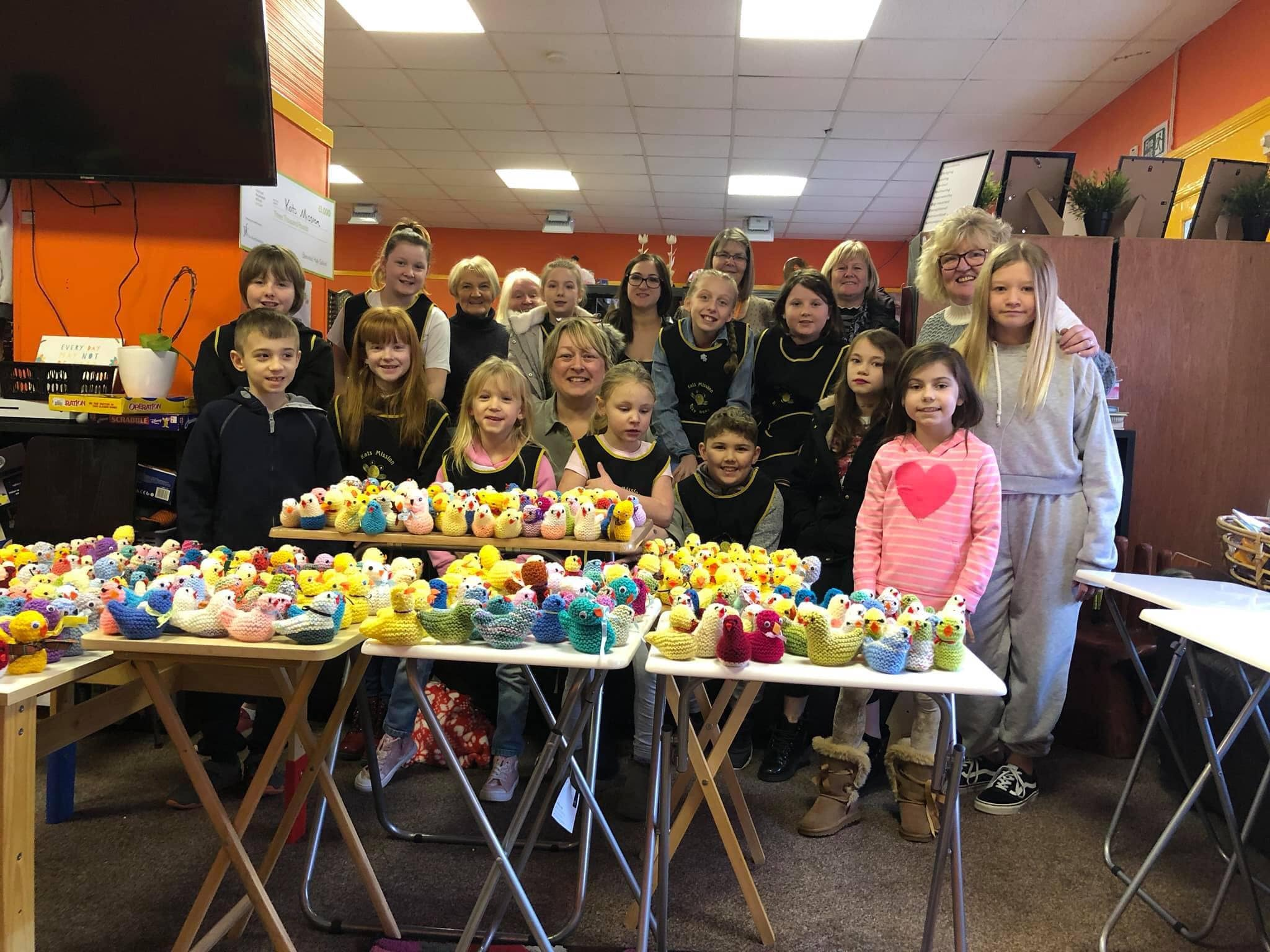 Kats Mission volunteers who helped create the Easter chicks of the Made For Maggies charity.
