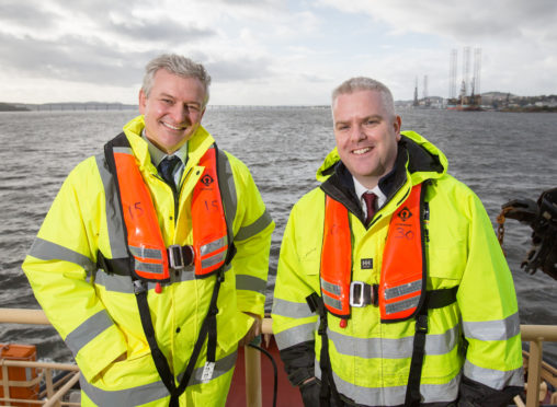 Matthias Haag, NnG project director and David Webster, Forth Ports senior port manager for the ports of Dundee and Leith. Picture: Robert Perry.