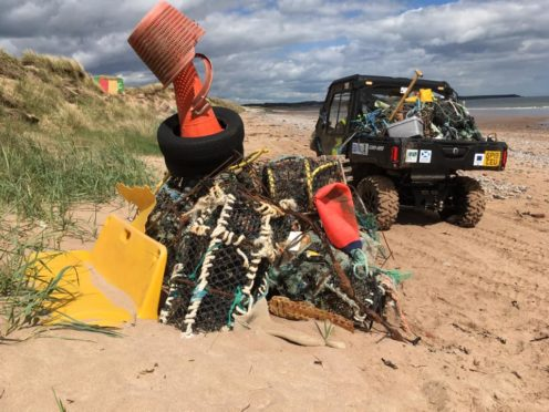 Some of the rubbish removed from the Angus coastline in 2019.
