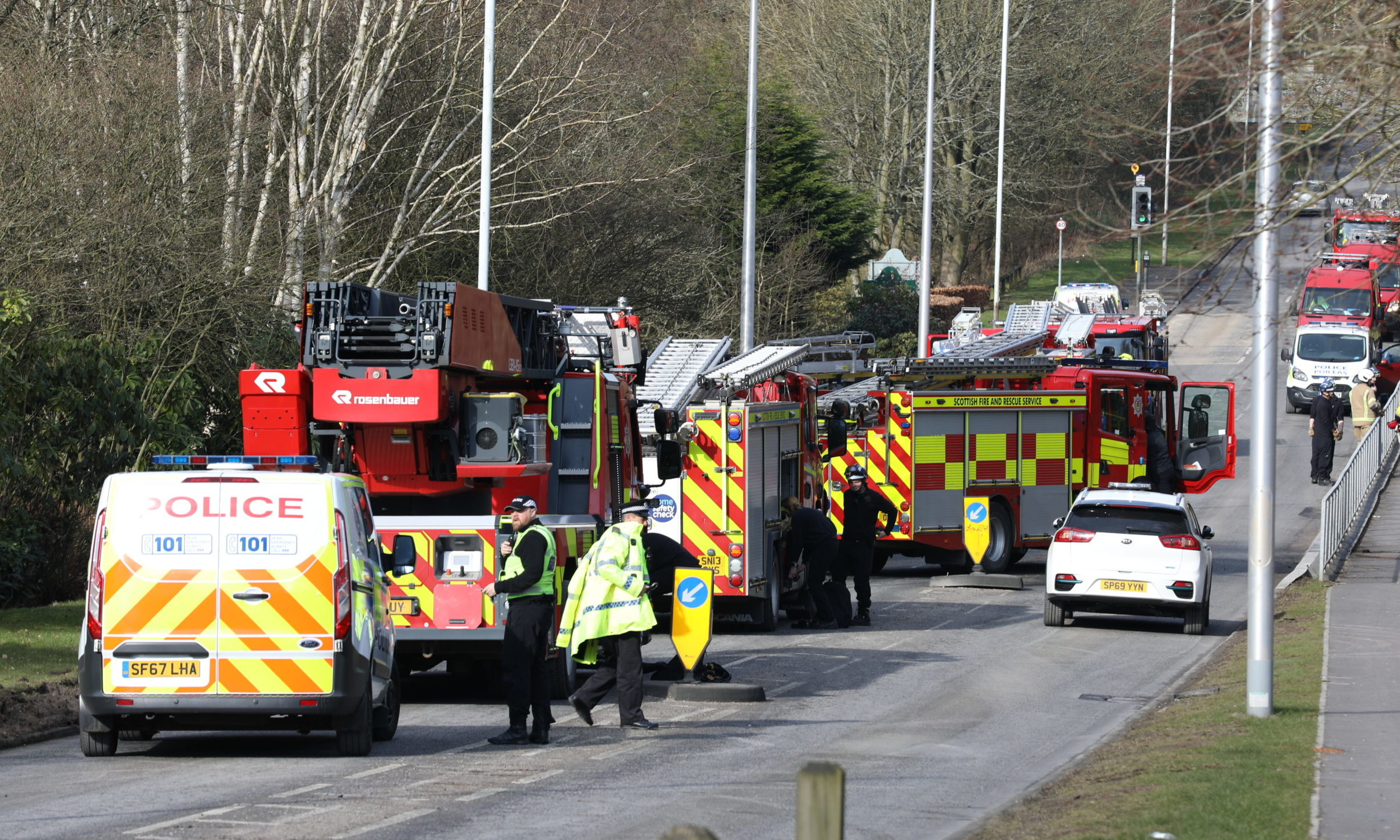 Emergency services at Riverside Park in Glenrothes.