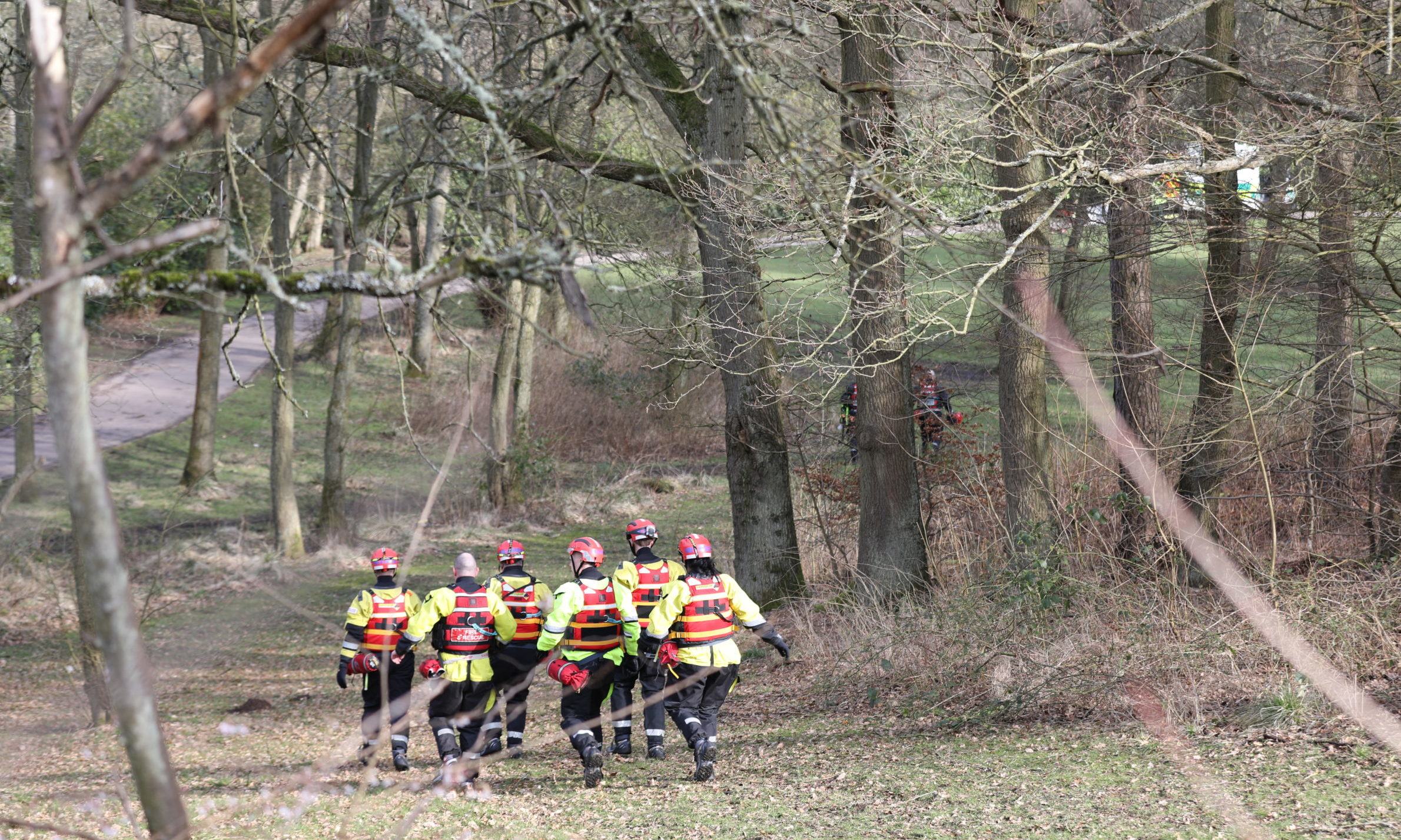 Firefighters at Riverside Park in Glenrothes.
