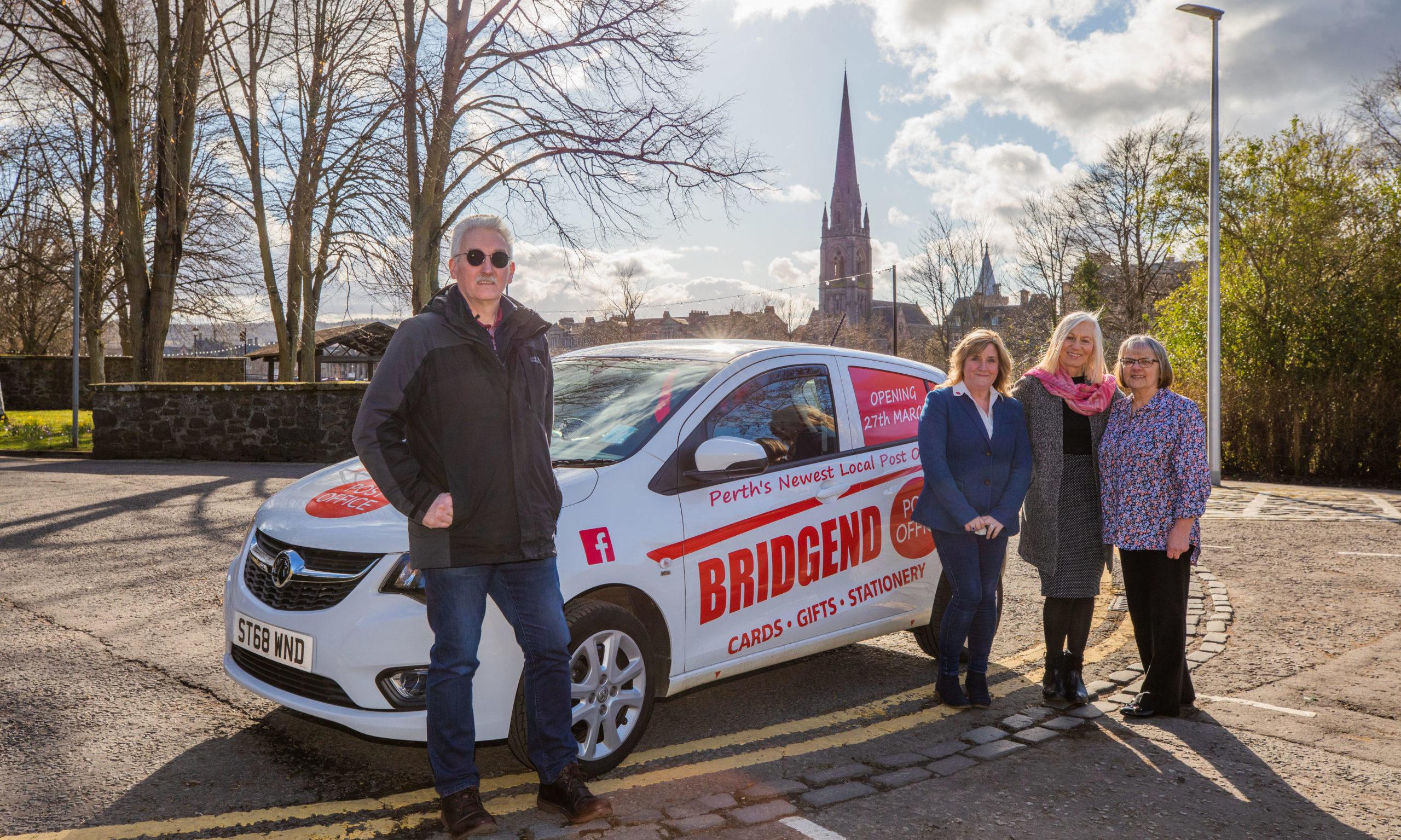 Ian Morgan, Linda McDonald, Edna McIntyre and Fiona Bain are preparing to open the new Post Office in Bridgend this week.