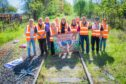 Local school children walked along the disused Levenmouth railway route as part of the campaign to reopen the line.