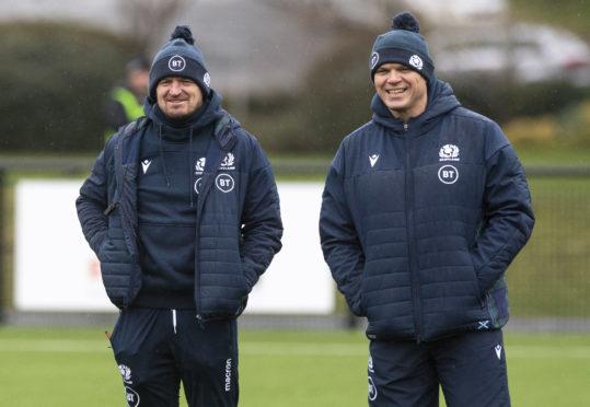 Scotland head coach Gregor Townsend (left) and assistant coach Pieter de Villiers.
