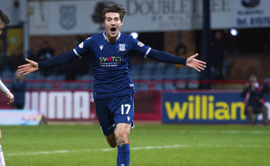 Olly Crankshaw celebrates his late goal