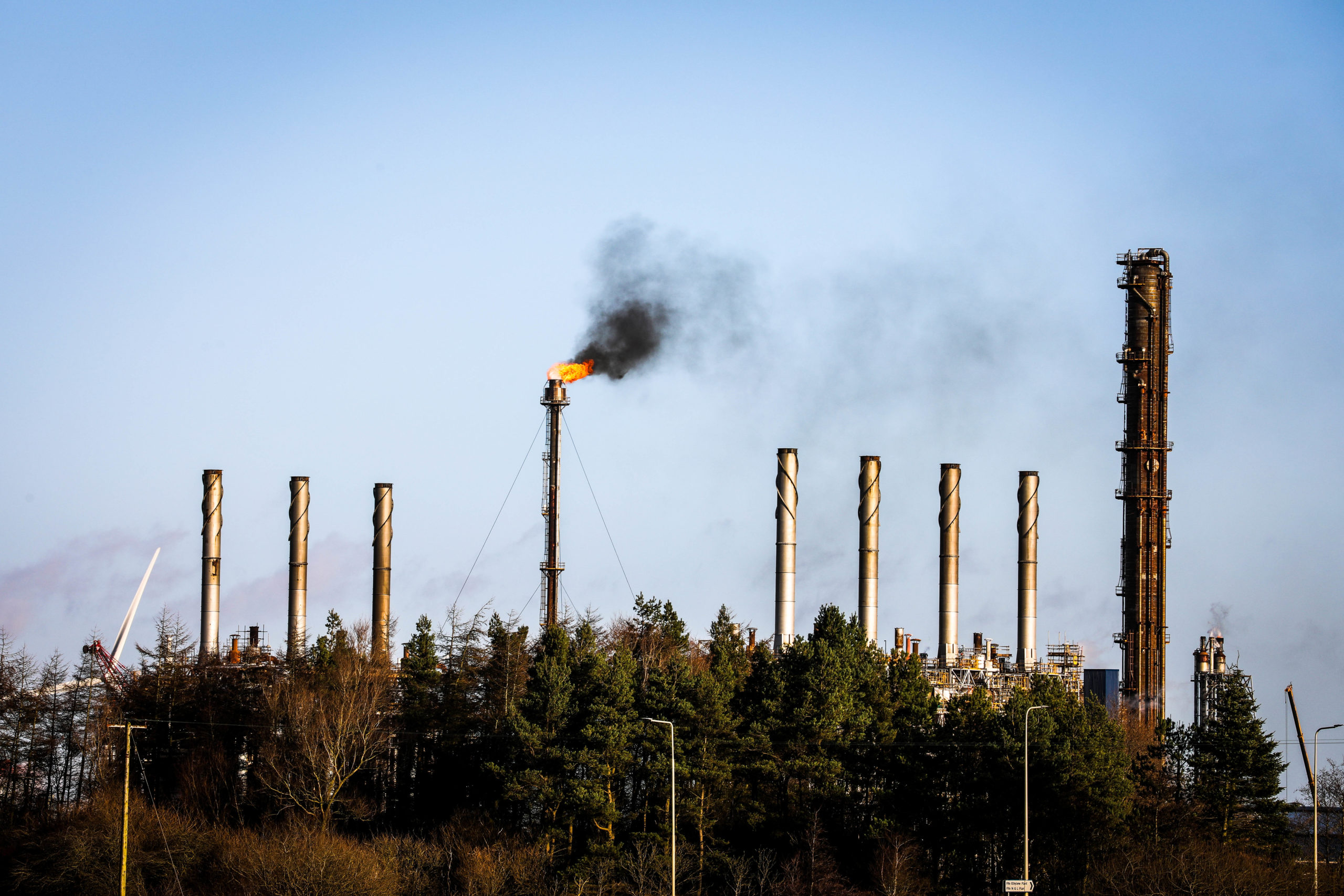 Flaring at the Exxon / Mossmorran Petrochemical plant near Cowdenbeath.