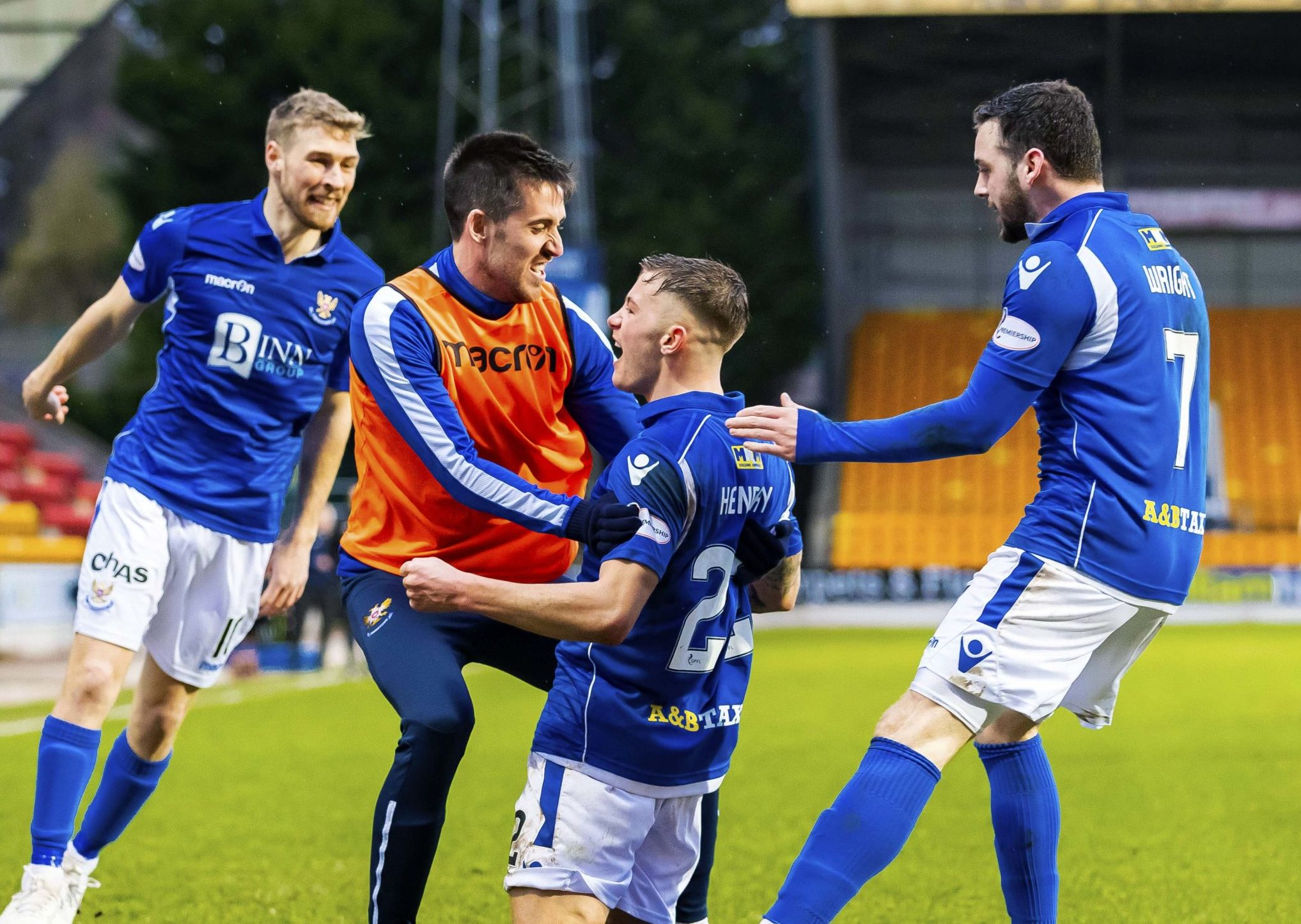 Drey Wright joins in the Callum Hendry goal celebrations.