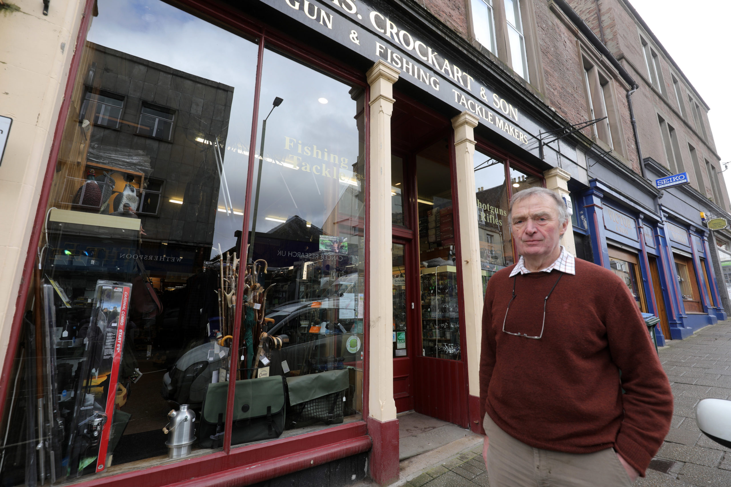 Robert Jamieson at his store in Alan st, Blairgowrie