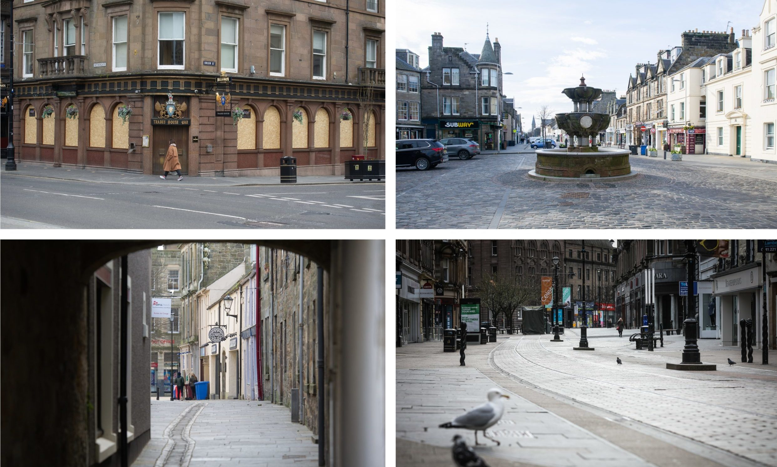 The empty streets of Dundee and St Andrews.