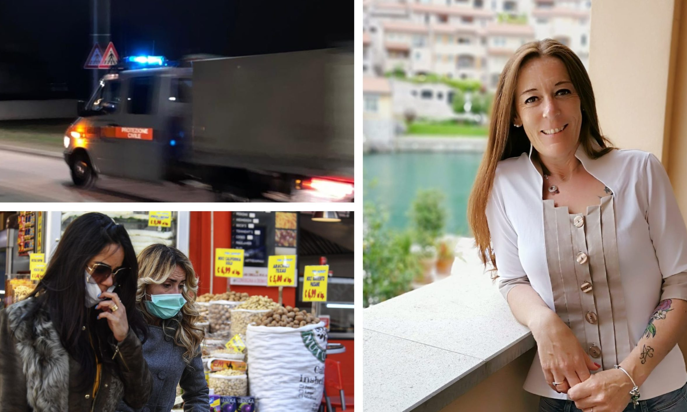 Aileen Froude (right). Top left: vehicles patrol the streets of Udine. Bottom left: women wearing masks in Naples.