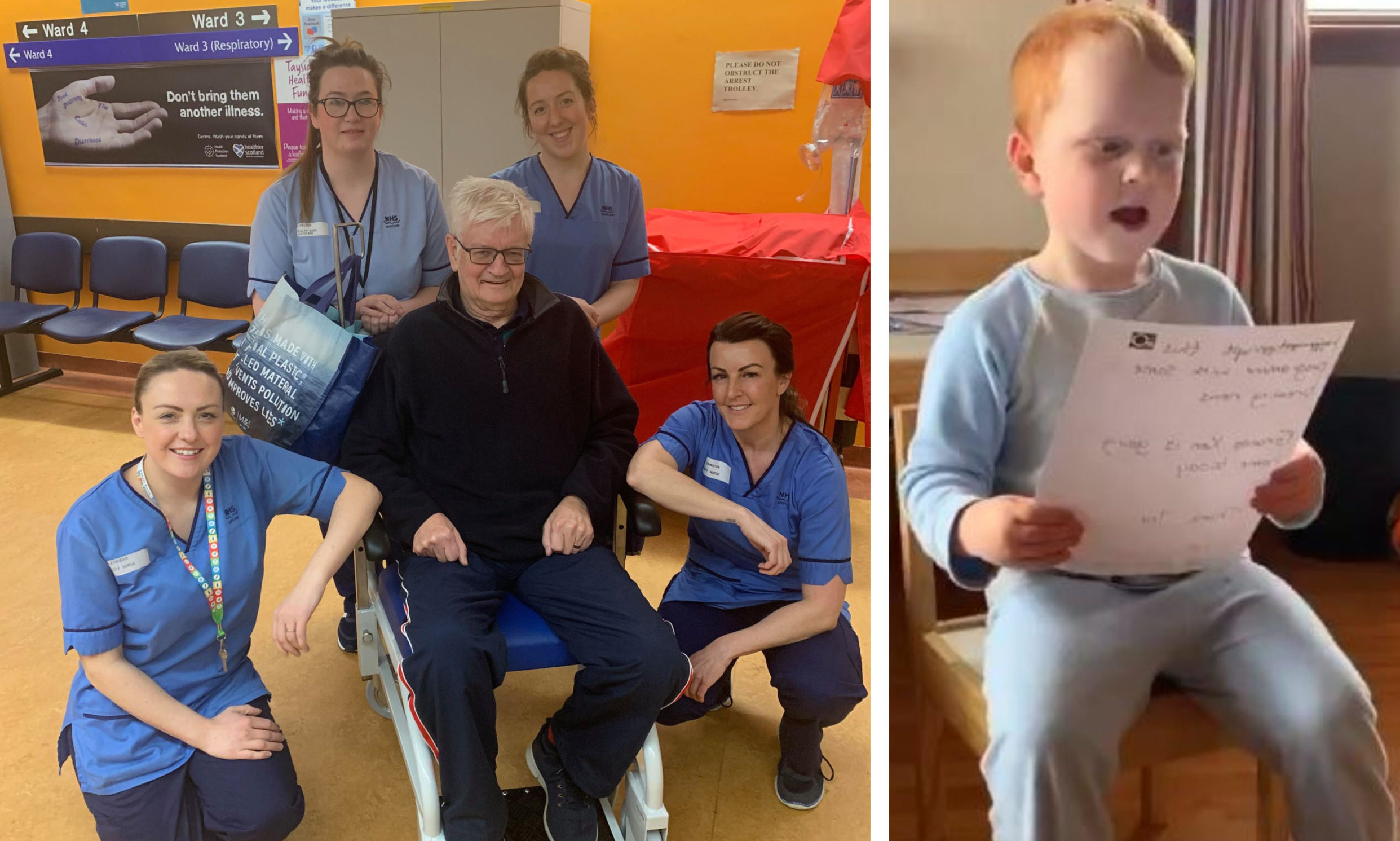 Ken Clark with NHS Tayside staff, left, and grandson Lewis, right.