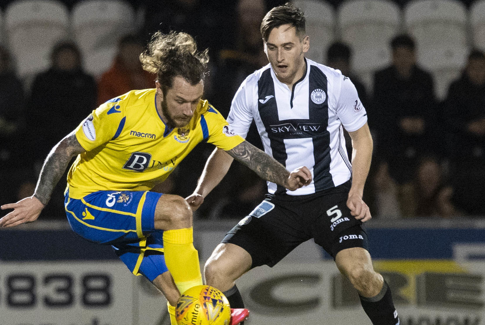 Stevie May in action against St Mirren.