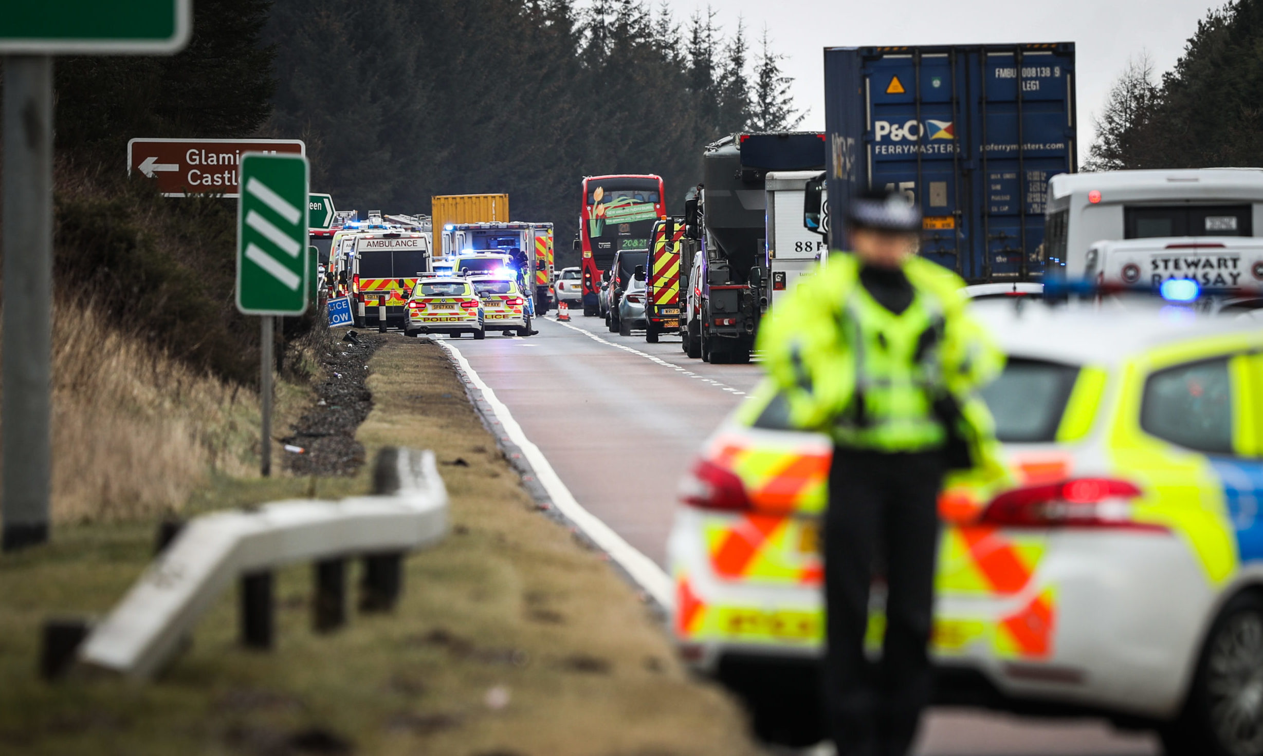 The scene of the fatal A90 crash near Tealing.