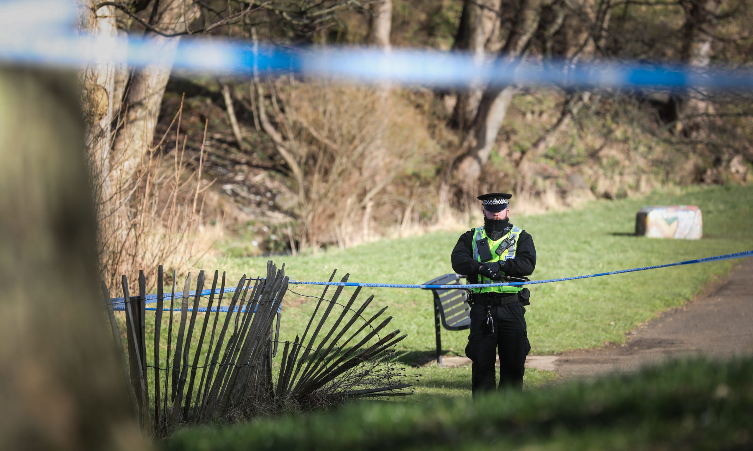 Police have cordoned off a section of the park around the Dighty Burn.