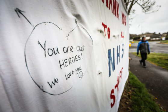 A message of support for NHS workers hung near Ninewells hospital in Dundee.