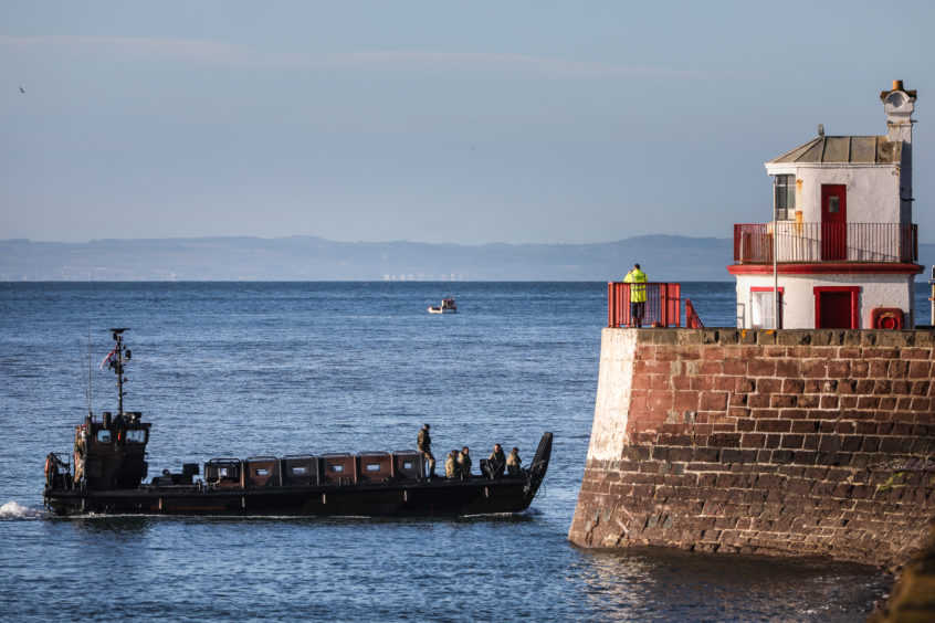 They were ferried in through Arbroath Harbour.