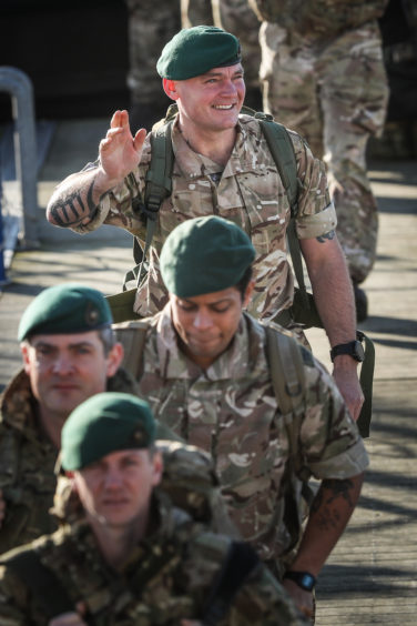 The soldiers looked happy to be home.