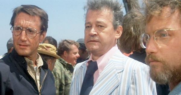 Mayor Vaughn, centre, in a scene from Jaws.