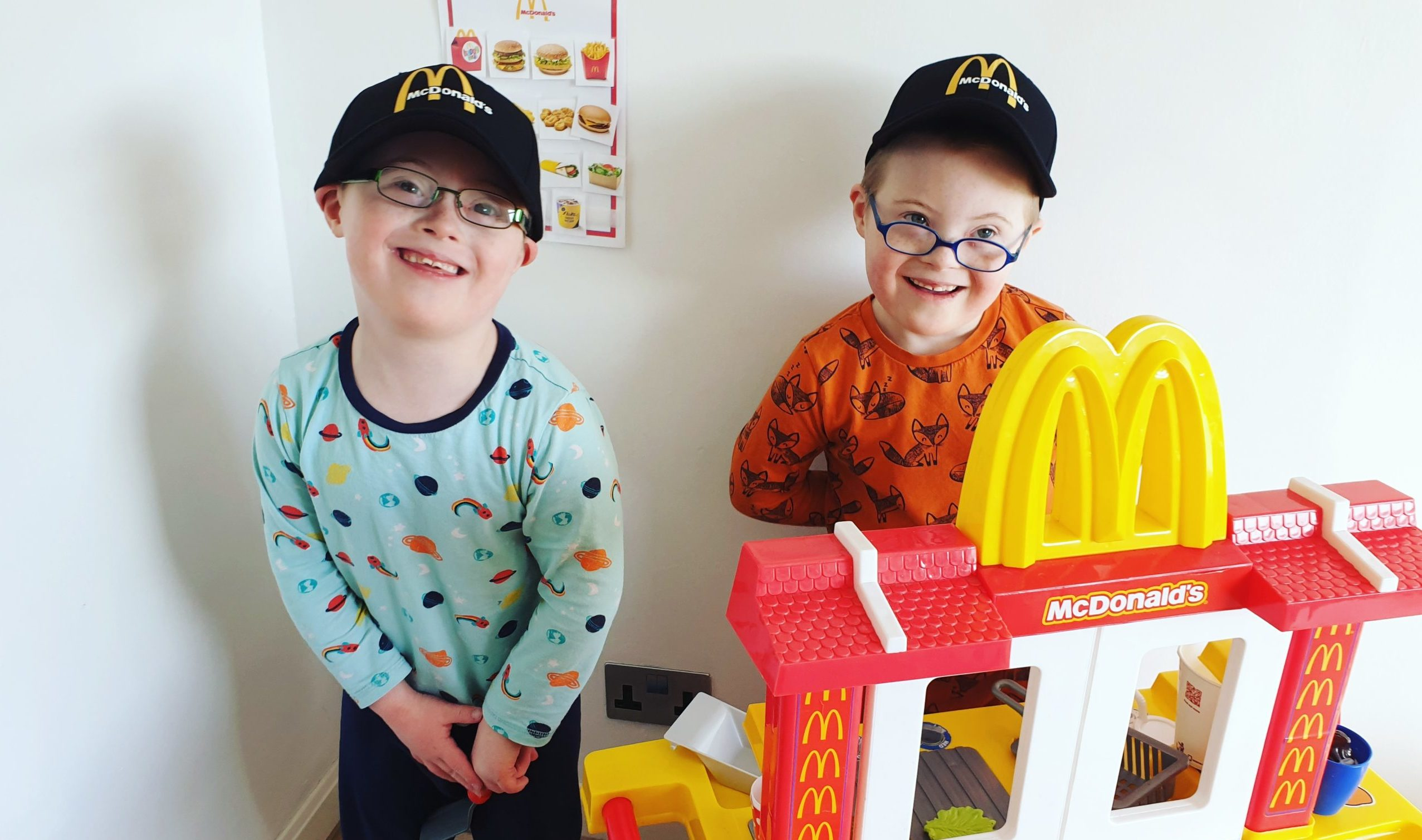 Ollie, left, and Cameron Scougal enjoyed a home 'drive-thru' McDonalds during lockdown as a 7th birthday treat.