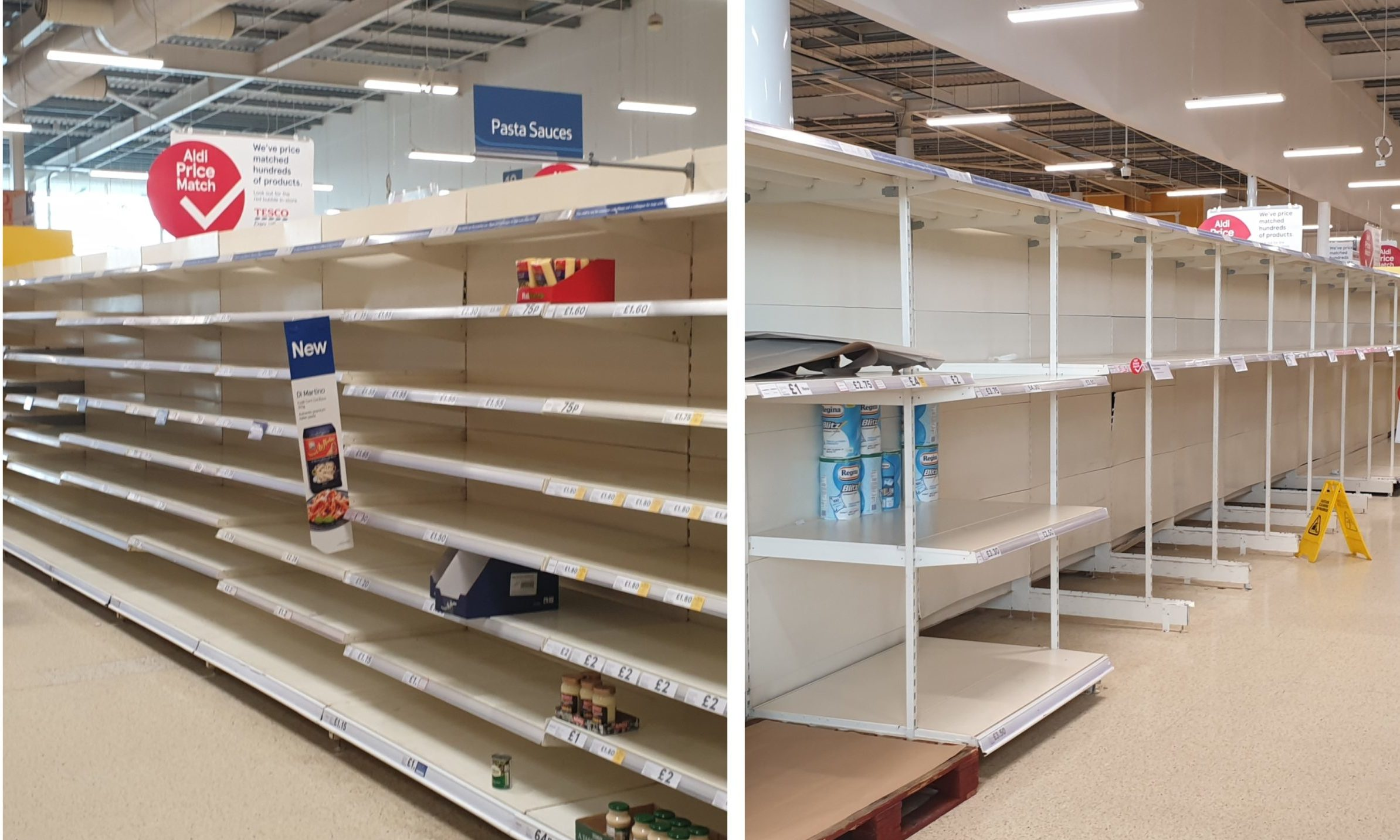 Panic buying has led to bare shelves in many supermarkets.